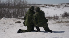 Military, soldiers conferring during action Stock Footage