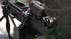 Military, soldier and light machine gun Stock Footage