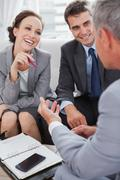 Business people arranging an appointment - stock photo