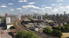 Morning time-lapse of Vauxhall railway station, London Stock Footage