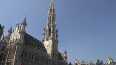 Brussels cityhall on the Grand Place - stock footage