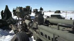 Military, artillery 155mm gun detail Stock Footage