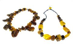 amber necklace - stock photo