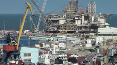 Oil platform in Baku harbor for maintenance Stock Footage