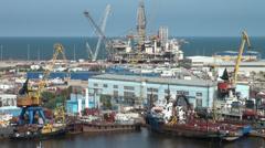 Offshore oil platform, maintenance, harbor, Baku, Azerbaijan, pipeline Stock Footage