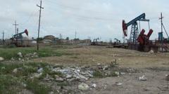 Polluted oil field and garbage dump, in Baku, Azerbaijan Stock Footage