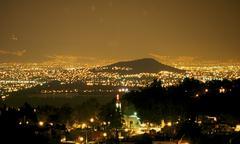 Panoramic view of Mexico City illuminated Stock Photos