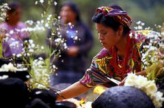 woman during a mayan ritual chichicastenango guatemala - stock photo