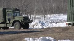 Military, Army 2 & 1/2 ton truck through frame Stock Footage