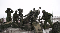 Military, 155mm artillery gun fires, wide shot Stock Footage