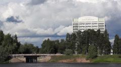 Downtown of Petrozavodsk city in Karelia, near Karelia hotel 20130816172953 - stock footage