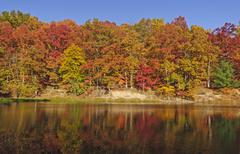 fall reflections on a quiet lake - stock photo