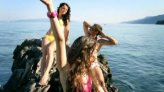 Models on photoshooting by the sea Stock Footage