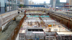 Crossrail Construction site, Canary Wharf, London - stock footage