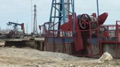 Oil field in Baku, Azerbaijan Stock Footage