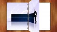 Business book two page with blue screen Stock Footage