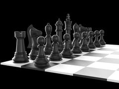chess set and board - stock illustration