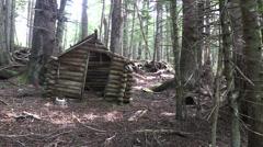 Pioneer log cabin Stock Footage