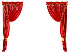 realistic theater curtain - stock illustration