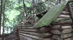 Wilderness log cabin Stock Footage