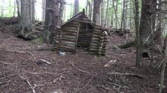 Doorless log cabin Stock Footage