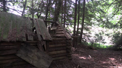 Original rustic log cabin Stock Footage