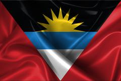 wavy flag of antigua and barbuda - stock illustration