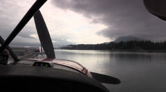 Float plane starting engine Stock Footage