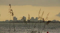 Skyline of St. Petersburg Florida from across Tampa Bay Stock Footage