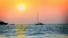 Fast sunset with normal speed of the boat Stock Footage