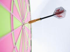 Stock Photo of Profile of dart stuck in bulls eye