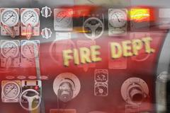 Control gauges on firetruck Stock Photos