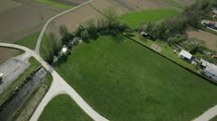 Beautiful landscape with roads and fields from sky Stock Footage