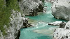 Extraordinary water stream on Soca river in Europe - stock footage