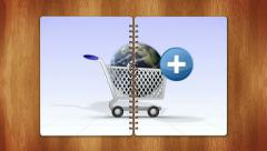 12 world cart book two page with blue screen Stock Footage