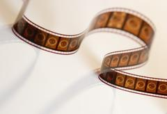 Strip of movie film from above Stock Photos