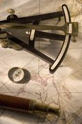 Still life of navigational instruments Stock Photos