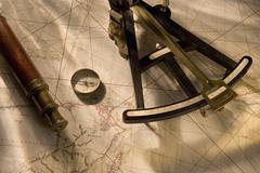 Still life of navigational instruments - stock photo