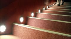A woman walking on the stairs Stock Footage