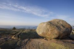 Boulder on Cadillac Mountain Acadia Maine - stock photo
