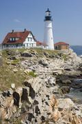 Portland Head Lighthouse Cape Elizabeth Maine - stock photo