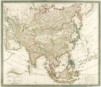 Antiquated map of Asia - stock photo