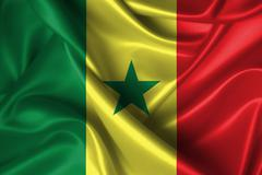 wavy flag of senegal - stock illustration