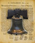Liberty Bell and the Declaration of Independence Stock Photos