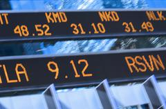 Closeup of stock market ticker Stock Photos