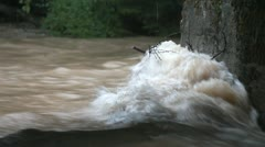 View of the tree trunk which is resisting  the water power of the increased Stock Footage