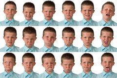 Expressions - Nine Year Old Boy - stock photo