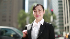 Asian business woman in New York City smiling face - stock footage