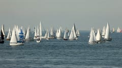 Sailing boat with white and colored sails Stock Footage
