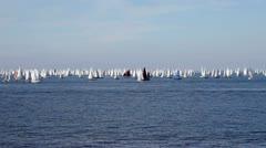 Boats far away in the sea Stock Footage